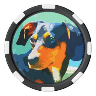 Lot De Jeton De Poker Portrait de Doxie peint par teckel