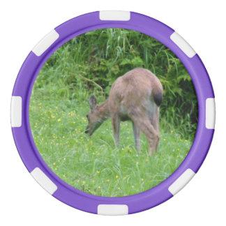 Lot De Jeton De Poker Puce noire de cerfs communs de queue de Sitka