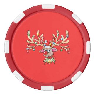Lot De Jeton De Poker Renne mignon de Rudolf avec des cartes de lumières