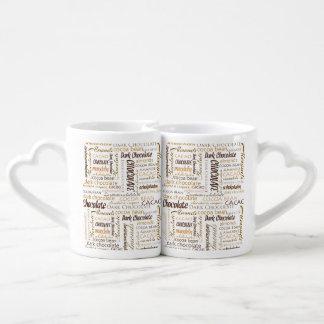 Lot De Mugs Chocolat, amandes et nuage foncé de mot de
