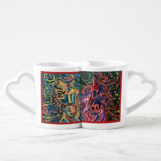 Lot De Mugs En montant à l'amour avec une il effiloche de café