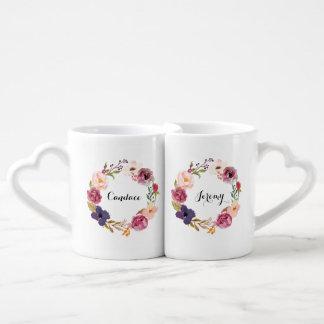 Lot De Mugs Guirlande florale d'aquarelle rustique de Boho