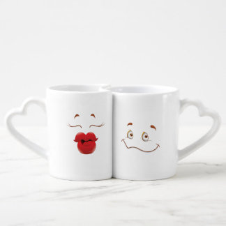 Lot De Mugs Kissy font face à la bande dessinée de femme
