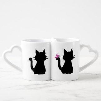 Lot De Mugs Le chat noir silhouette le papillon rose