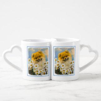 Lot De Mugs Pomeranian dans les marguerites