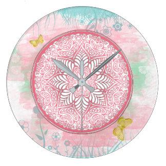 ~ Lotus de MANDALA de ressort - horloge murale