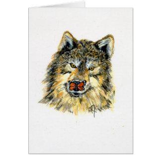 Loup avec la carte de voeux de note/de papillon
