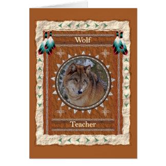 Loup - carte de voeux faite sur commande de