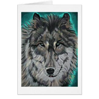 Loup dans le carte pour notes turquoise de glace