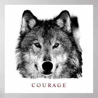 Loup de motivation noir et blanc de courage poster