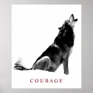 Loup de motivation noir et blanc d'hurlement de poster