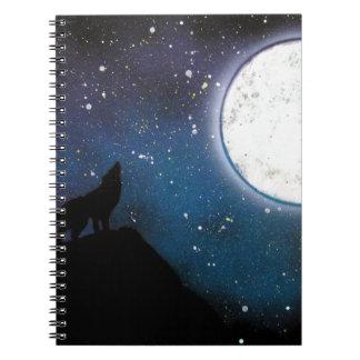 Loup hurlant à la peinture d'art de peinture de carnet