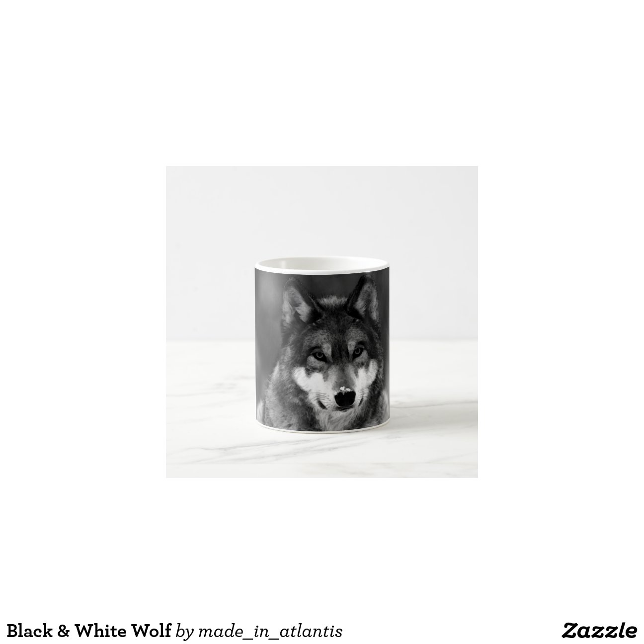 loup noir et blanc mug blanc zazzle. Black Bedroom Furniture Sets. Home Design Ideas