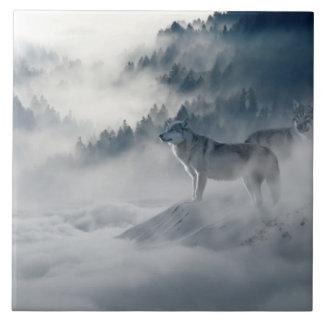 Loups dans le carreau de céramique d'hiver