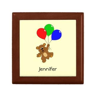 L'ours mignon avec la bande dessinée de ballons boîte à bijoux