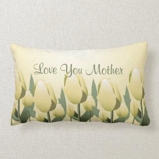 Lumbar de jaune de maman d'amour de tulipes de coussin décoratif