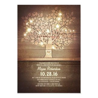 Lumières de ficelle et douche nuptiale d'arbre carton d'invitation  12,7 cm x 17,78 cm
