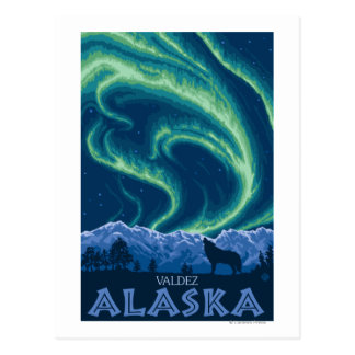 Lumières du nord - Valdez, Alaska Cartes Postales