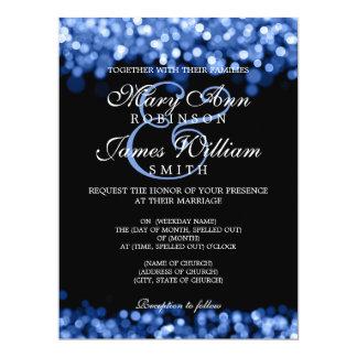 Lumières élégantes de bleu de mariage carton d'invitation  16,51 cm x 22,22 cm