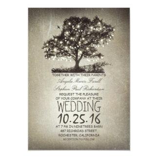Lumières rustiques d'arbre et de ficelle épousant carton d'invitation  12,7 cm x 17,78 cm