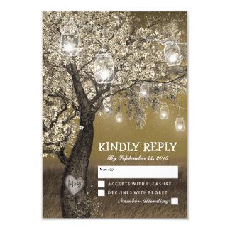 Lumières rustiques de cerisier et de ficelle carton d'invitation 8,89 cm x 12,70 cm