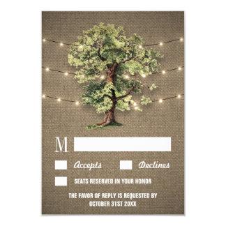 Lumières rustiques de chêne vintage épousant des carton d'invitation 8,89 cm x 12,70 cm