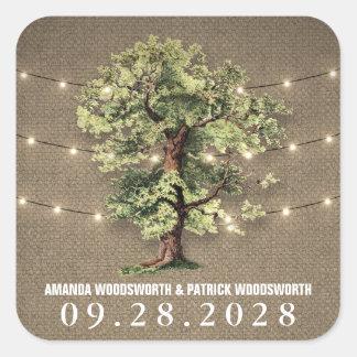 Lumières rustiques de chêne vintage épousant des sticker carré