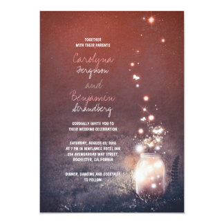 Lumières rustiques de jardin - mariage de pot de carton d'invitation  12,7 cm x 17,78 cm
