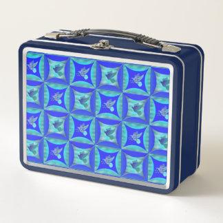 Lunch Box Le bleu a plongé dans le trou dans la porte de
