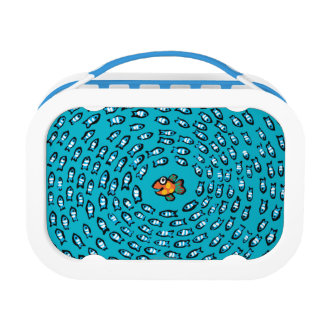 Lunch Box Motif bleu d'école de poissons avec de petits