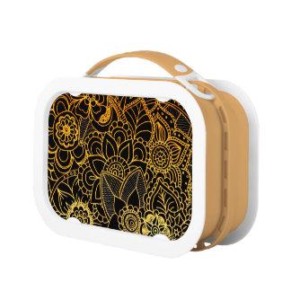 Lunch Box Or floral G523 de griffonnage de gamelle