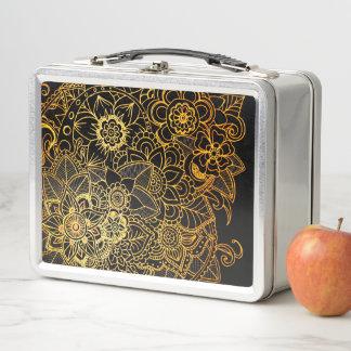 Lunch Box Or floral G523 de griffonnage de gamelle en métal
