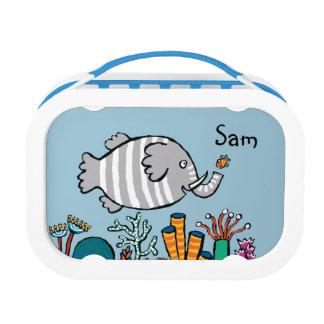 Lunch Box Scène mignonne de poissons d'éléphant avec le