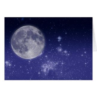 Lune et étoiles brillantes carte