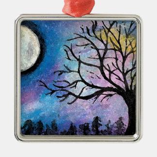 Lune superbe et paysage d'arbre ornement carré argenté