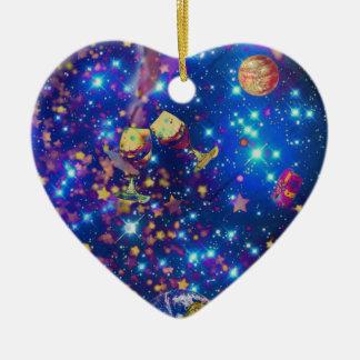 L'univers et les planètes célèbrent la vie avec un ornement cœur en céramique