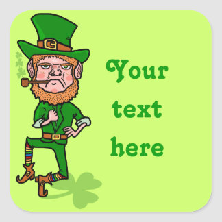 Lutin irlandais chanceux fâché drôle sticker carré