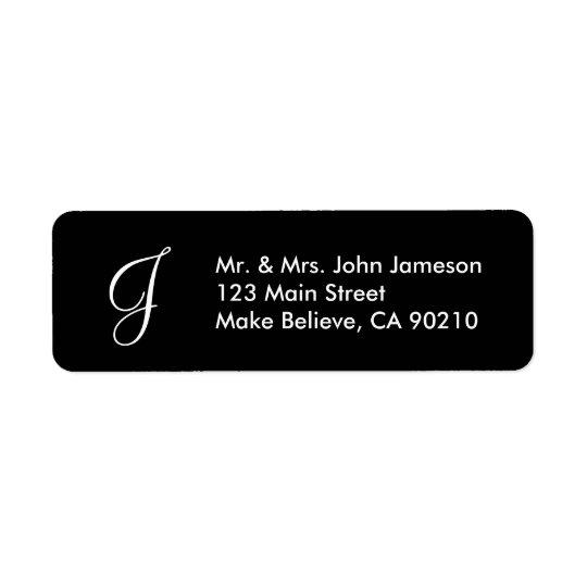 M. de monogramme et Mme - modèle noir d'étiquette Étiquette D'adresse Retour