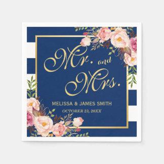 M. en Mevr. Floral Gold Marineblauwe Strepen van Papieren Servetten