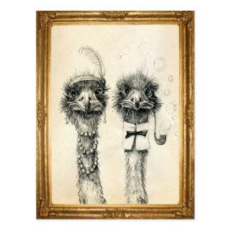 M. et Mme Ostrich encadrée Carte Postale