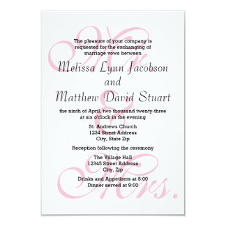 M. et Mme Pink-3x5 Wedding et invitation de