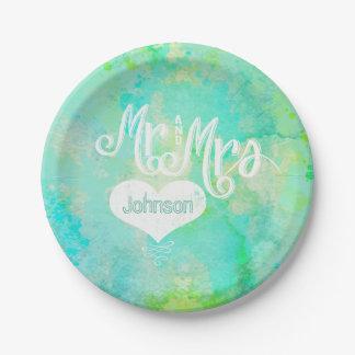 M. et Mme style d'aquarelle de vert bleu Assiettes En Papier