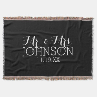 M. et Mme Wedding Favors de noir de couleur solide Couverture