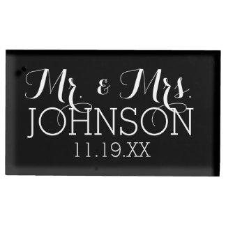M. et Mme Wedding Favors de noir de couleur solide Porte-photo