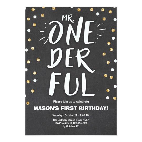 M. or onederful de noir de garçon d'invitation carton d'invitation  12,7 cm x 17,78 cm