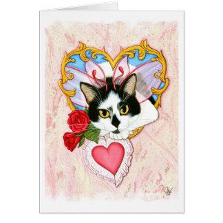 Ma carte de voeux féerique féline de chat de