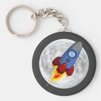 Maan en Raket Keychain (sleutelring) Sleutelhanger