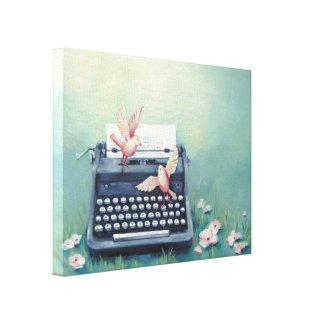 Machine à écrire et copie de toile d'oiseaux