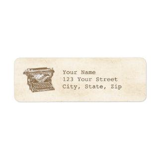 Machine à écrire vintage étiquette d'adresse retour