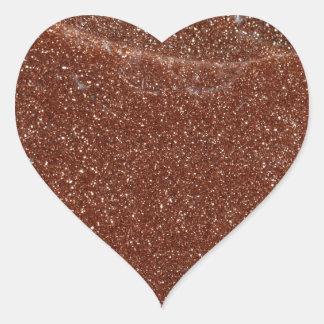 Macro photo de verre de Goldstone Sticker Cœur